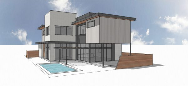 Rice Village Modern Home 3D Rendering