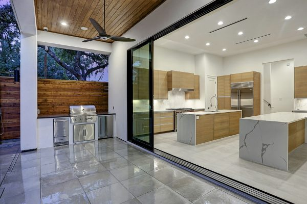 Modern Topography Houston Home Sliding Glass Wall