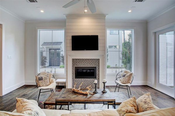 Farmhouse Modern Living Room and Fireplace